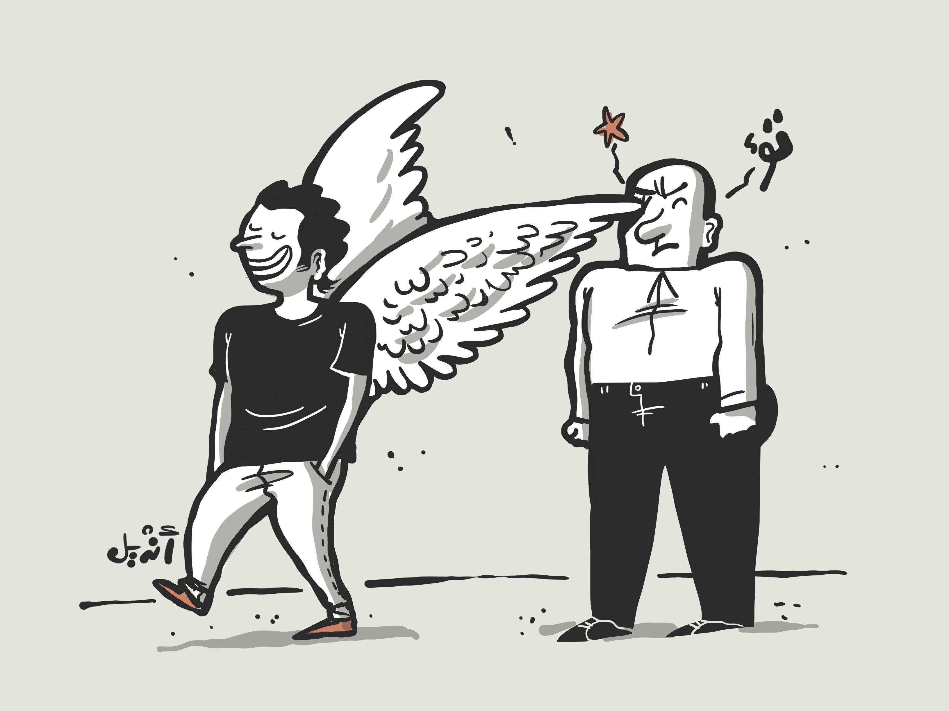 Cartoon: A man walks into a wing