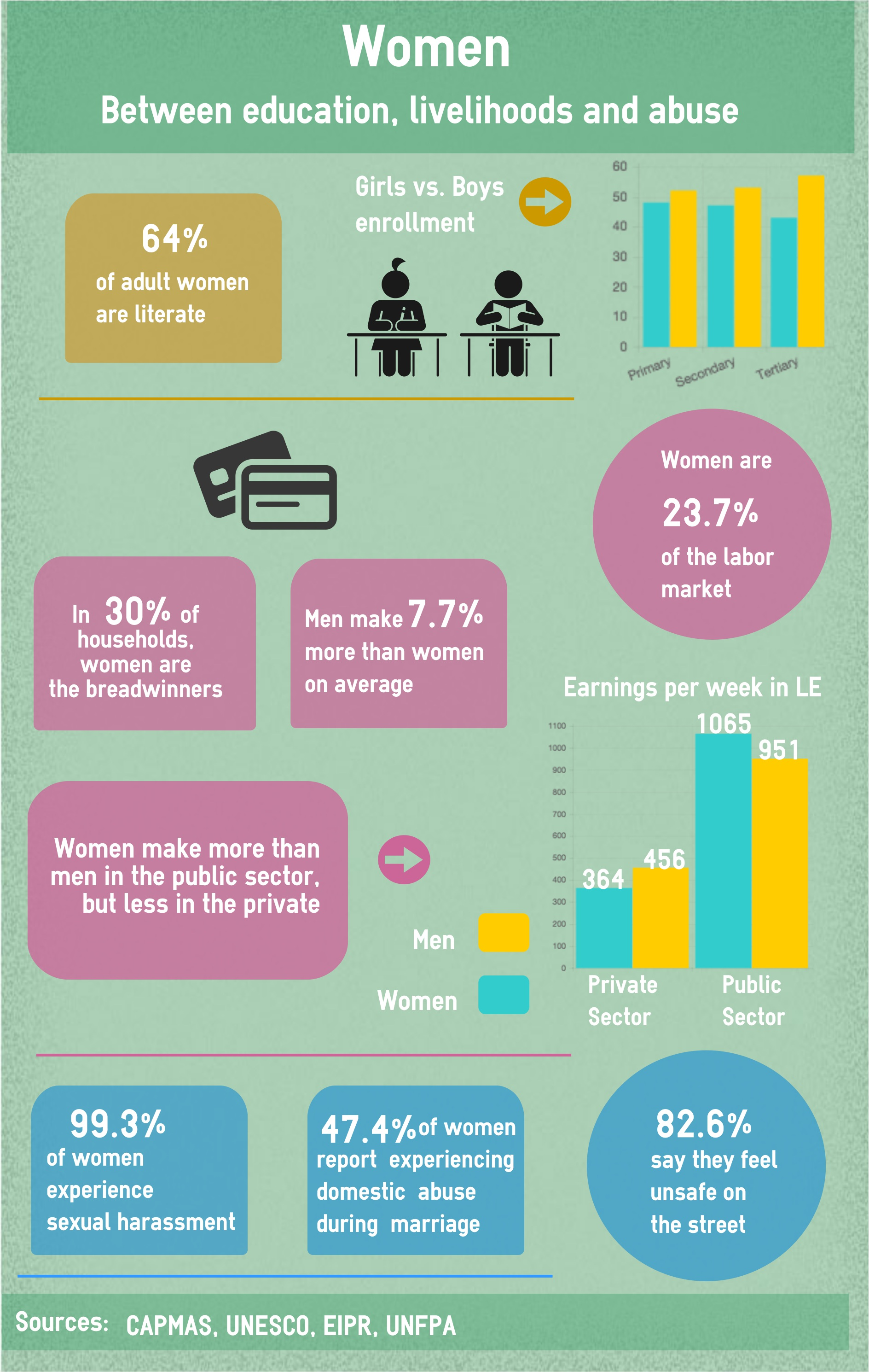Egyptian Women: Between education, livelihoods and abuse