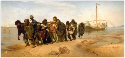 اليا ربين (1844 – 1930)، جاذبي الناقلات على نهر الفولجا، 1870-1873، ألوان زيت على أتوال، 131.5 سم * 281 سم، المتحف القومي الروسي، المصدر: ويكي ميديا كومنز