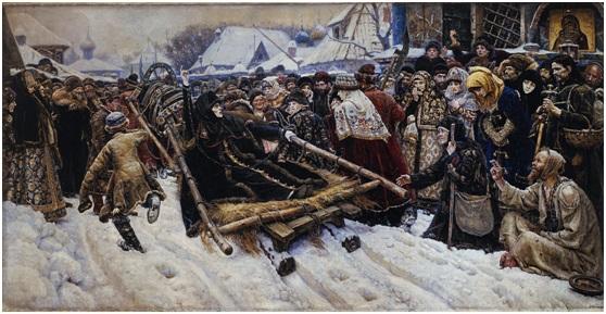 سوريكوف (1848–1916)، بويارينا موروزوفا، 1887، ألوان على أتوال، 304 سم*231.3سم، ترتياكوف جاليري، موسكو، روسيا المصدر: ويكي ميديا كومنز