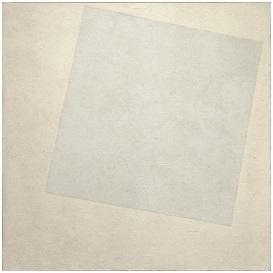 كازمير مالفيتش(1879-1935)، أبيض على أبيض، 1917-1918، زيت على أتوال، 79.4*79.4 سم، متحف الفن الحديث بنيويورك، نيويورك، الولايات المتحدة، المصدر: ويكي آرت، موسوعة الفن البصري.