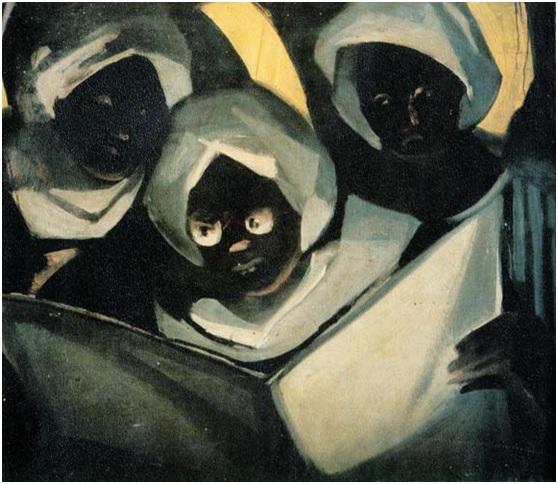 أدهم وانلي (1908-1959)، قراءة القرآن في منطقة النوبة، 1959، زيت على سيلوتكس، 80 سم * 71 سم، المصدر: قطاع الفنون التشكيلي