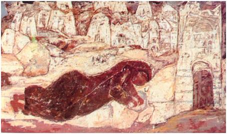 تحية حليم (1919-2003)، خبز من الصخر، حوالي 1965، المصدر: منتدى ورد للفنون