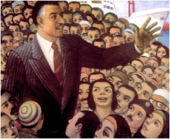 حامد عويس (1919-2011)، الزعيم وتأميم القناة، 1957، زيت على قماش، 110 سم *135 سم، المصدر: قطاع الفنون التشكيلية