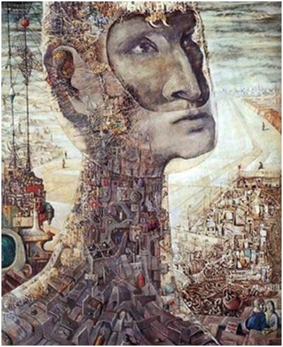 عبد الهادي الجزار (1925-1966)، السد العالي، 1964، باستل على سيلوتكس، المصدر: الموقع الرسمي للفنان عبد الهادي الجزار