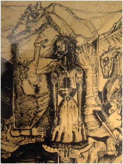 فؤاد كامل (1919-1973)، حلم مرهق، المصدر: المتحف الفن المصري الحديث