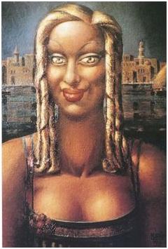 محمود سعيد (1897-1964)، ذات الجدائل الذهبية، 1933، ألوان زيت على أتوال، مجموعة مي زيد وعادل يسري خضر، القاهرة، المصدر: موقع ممارسات معاصرة