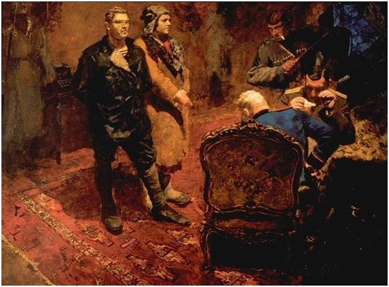 أيوجانسون (1893–1973)، التحقيق مع الشيوعيين، 1933، ألوان على زيت، 211سم * 270 سم، جاليري ترتياكوف القومية، المصدر: موقع الرسمي لجاليري ترياكوف