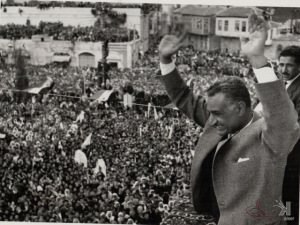 Nasser addressing a mesmerized crowd about his decision to go against the West and nationalize the canal