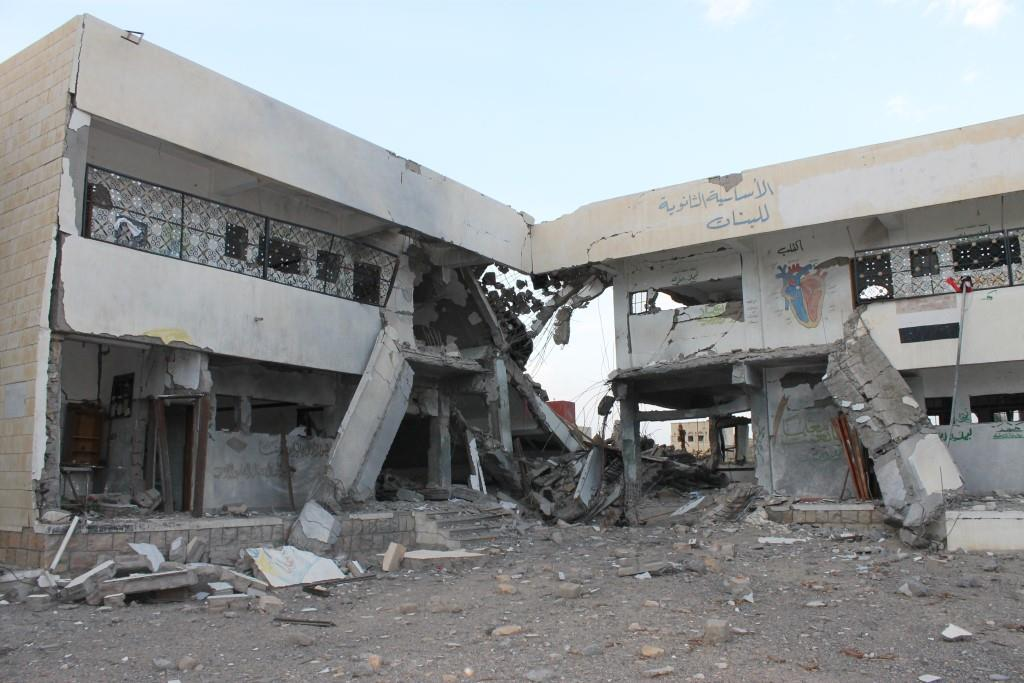 Bombarded school in Saada, Yemen