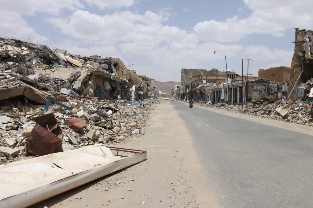 Demolished main street in Saada, Yemen