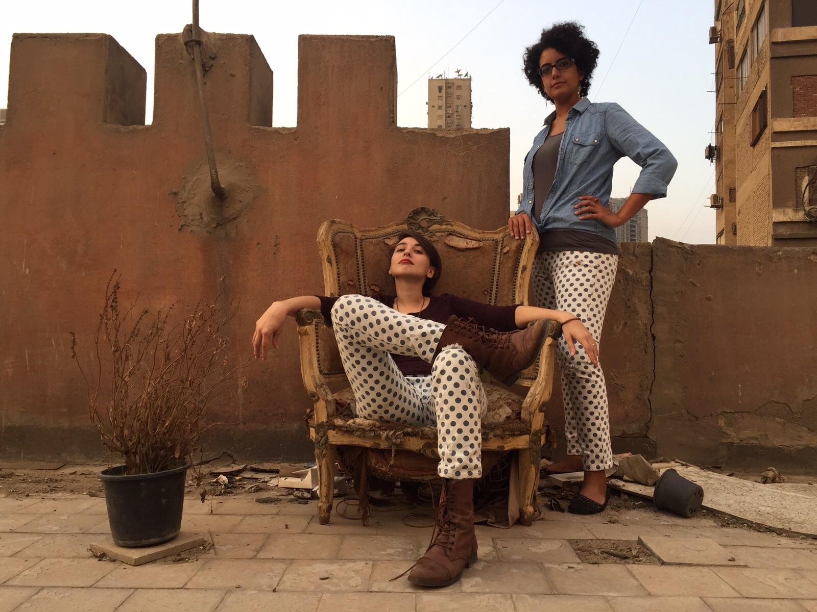 Heba and Pesha in their matching pants