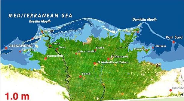 في حال ارتفاع مستوى سطح البحر بمقدار متر