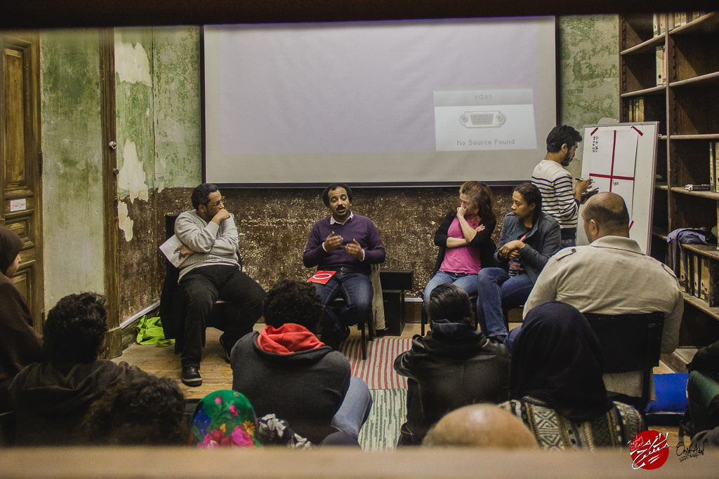 At the 2015 edition discussion on Public space art at Wekalet Behna. Photo by Omar Adel, courtesy of Lazem Masrah.jpg