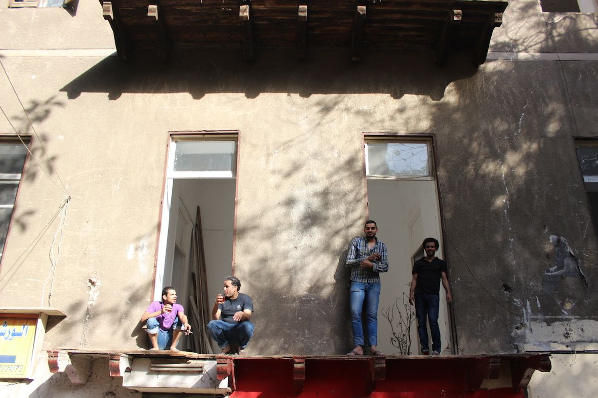 فريق تاون هاوس الفني، من اليسار إلى اليمين: هشام محمد ومحمد أنور وأحمد حمادة وإبراهيم شرقاوي، 19 أبريل