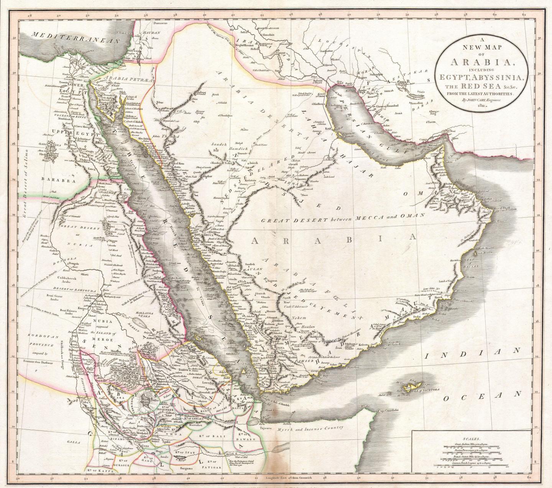 A New Map of the Arabian Peninsula, 1804, by John Cary