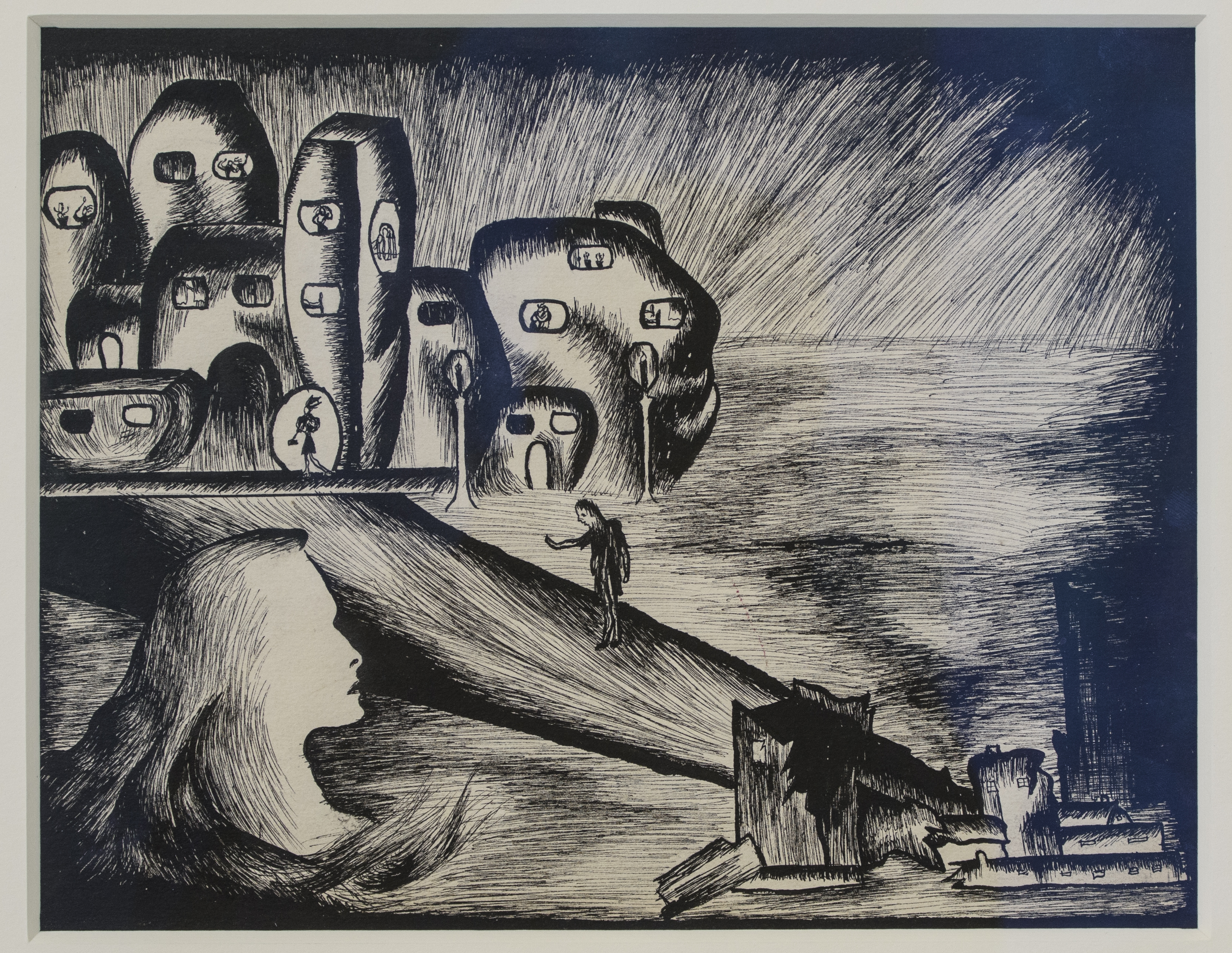 Inji Efflatoun, Contemplation, 1940. Ink on paper, 18.5 x 24 cm. Installation view. When Art Becomes Liberty: The Egyptian Surrealists, Palace of Arts, Cairo. Courtesy of Barjeel Art Foundation, Sharjah. Image courtesy of Sharjah Art Foundation.