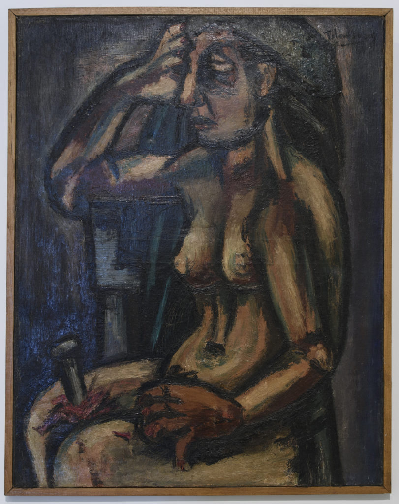 2.Kamel Telmisany, Untitled (Seated Nude), 1941. Oil on canvas, 73 x 58 cm. Installation view. When Art Becomes Liberty: The Egyptian Surrealists, Palace of Arts, Cairo. Courtesy of Museum of Modern Egyptian Art in Cairo. Image courtesy of Sharjah Art Foundation.