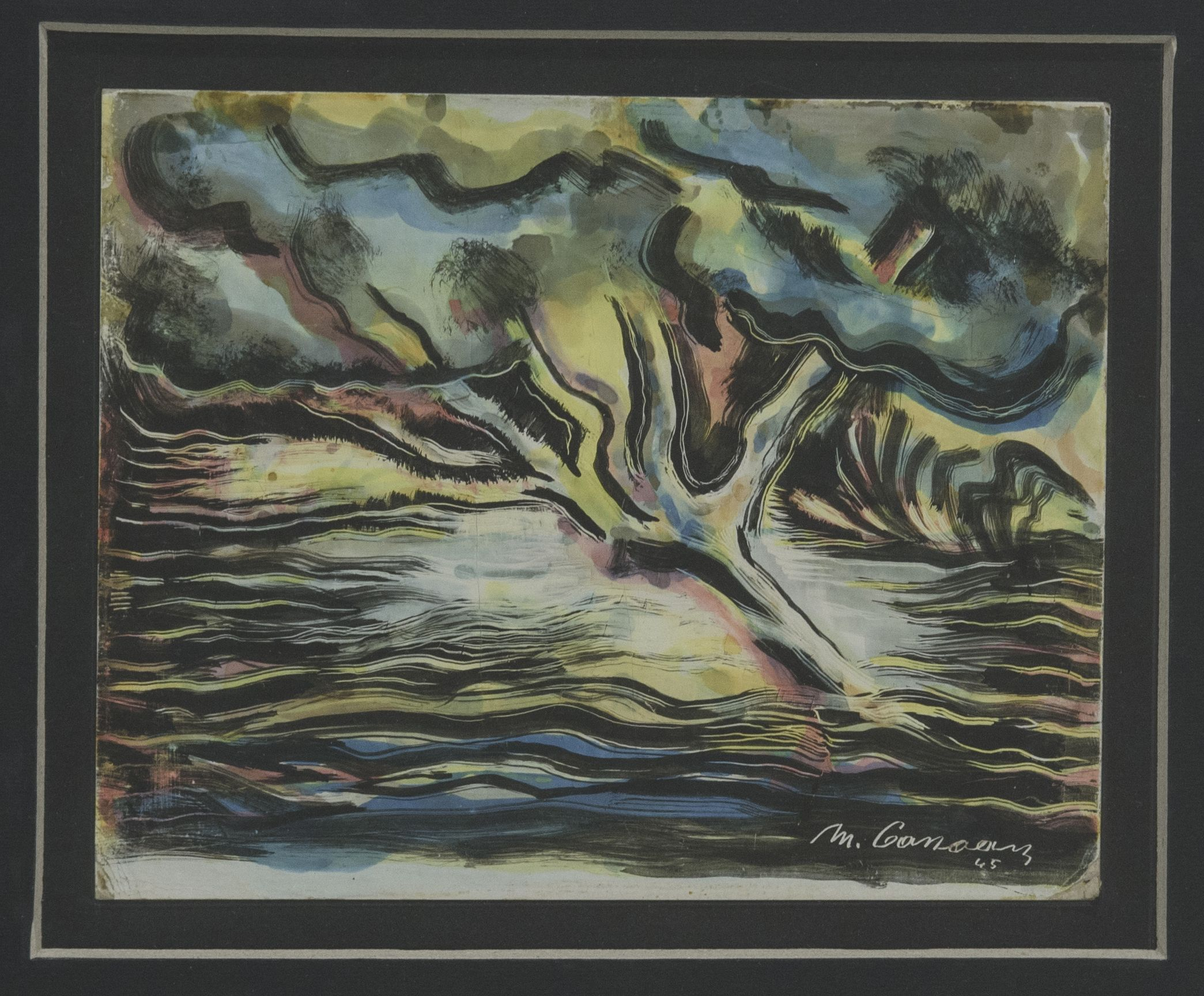 7.Mounir Canaan, The Holy Tree, 1945. Oil on cardboard, 17 x 20 cm. When Art Becomes Liberty: The Egyptian Surrealists, Palace of Arts, Cairo. Sharjah Art Foundation Collection. Image courtesy of Sharjah Art Foundation.