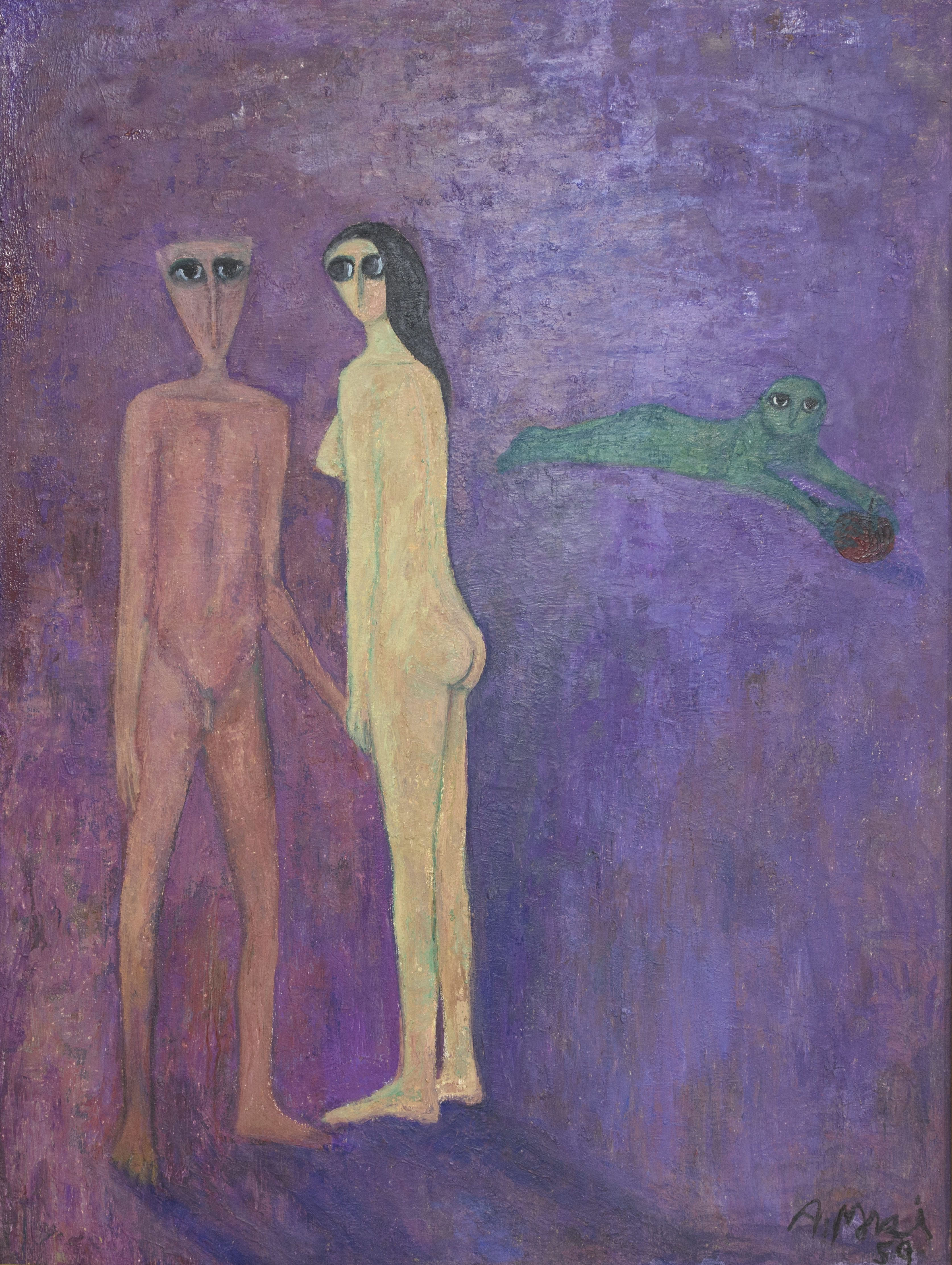 Ahmed Morsi, Adam and Eve, 1959. Oil on wood, 119 x 89 cm. Installation view. When Art Becomes Liberty: The Egyptian Surrealists, Palace of Arts, Cairo. Courtesy: Ahmed Morsi and Gypsum Gallery. Image courtesy: Sharjah Art Foundation.
