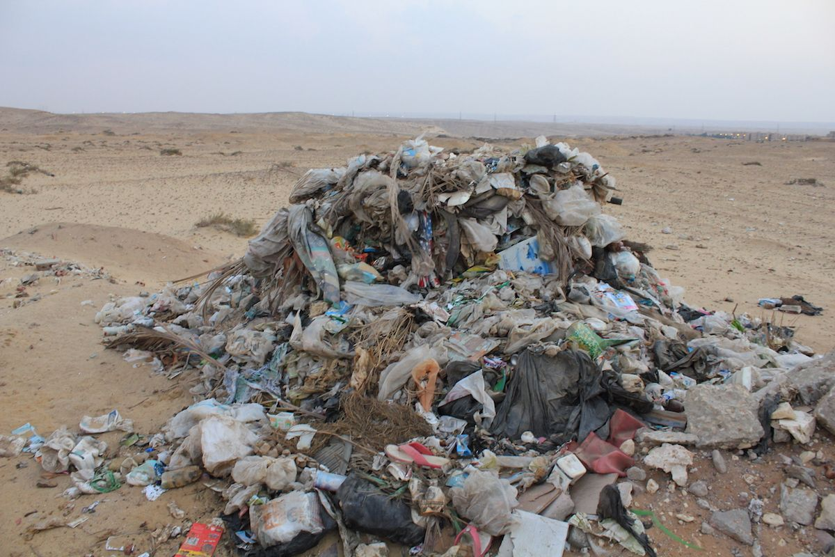 Piles of garbage dumped in the Petrified Forest