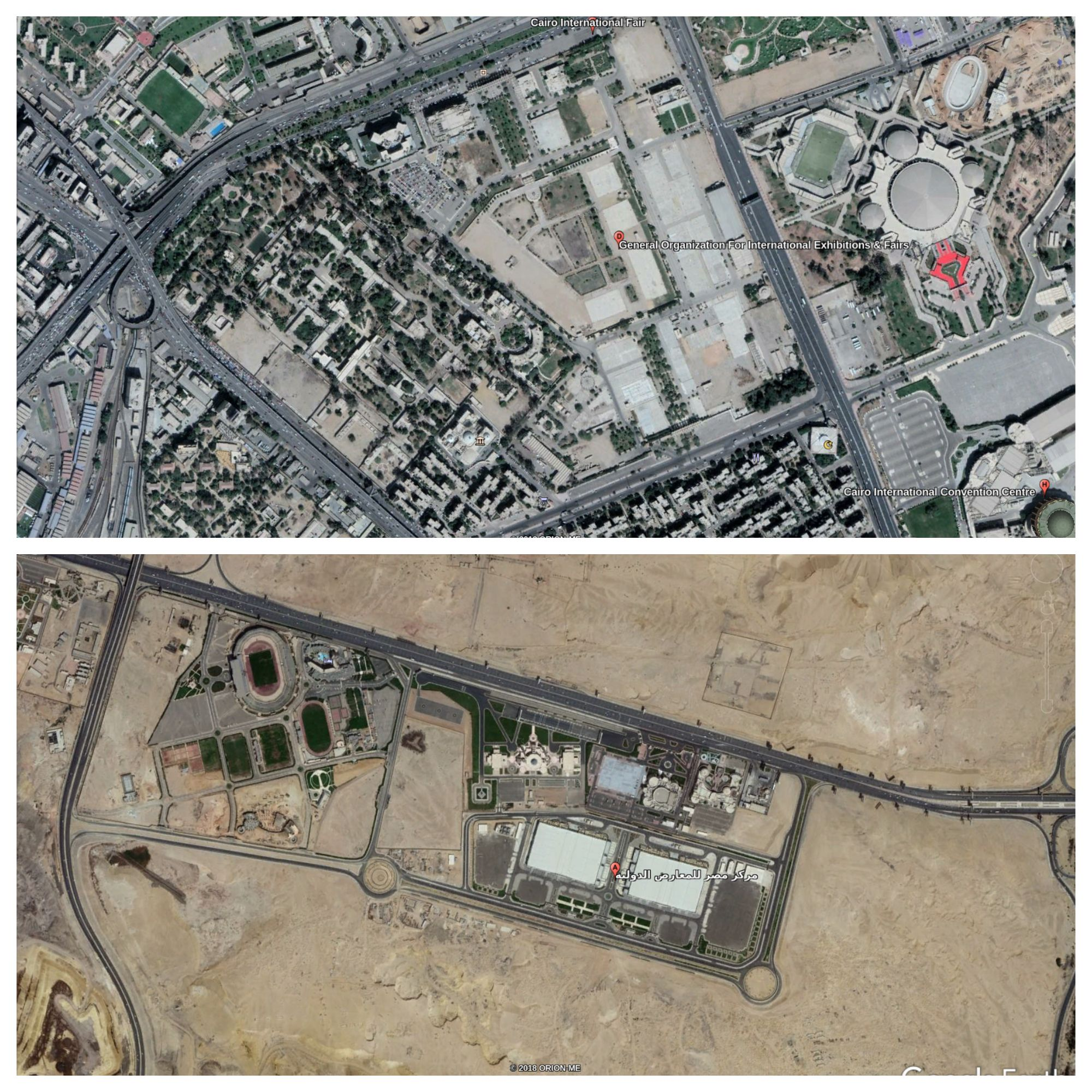 overhead images of old and new fairgrounds